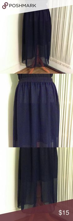 Navy Blue Skirt! Very Sheer Navy Blue skirt.  This skirt does have a slip beneath it but it does not provide any solid coverage.  Definitely need something under it...or it will make a great coverup when going to the beach or pool this summer.  Waistband is elastic. There are no tags...will fit XL thru 4X due to stretch waist. Skirts Maxi