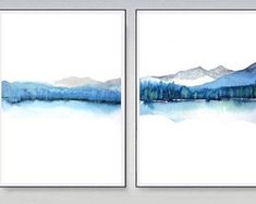 Extra Large Wall Art,2 Prints, Matching Art, Blue, Xtra Large Art Abstract Landscape Watercolor Painting, Set of 2 Watercolor Prints,Minimal