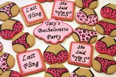 bachelorette party cookies- I know a lady that could make these even more creative