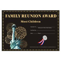 Family Reunion Hut - Most Children Award: Country Pride Theme Free Family Reunion Certificate Template