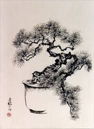 Bonsai Pine by Frederica Marshall Japanese Artwork, Japanese Painting, Chinese Painting, Tattoo Schwarz, Zen Painting, Japanese Tree, Ink In Water, Bonsai Art, Art Japonais