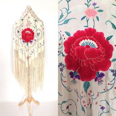 Your place to buy and sell all things handmade Vintage London, Floral Motif, Red Flowers, Floral Embroidery, Shawls, Cover Design, Vintage Antiques, Piano, My Etsy Shop