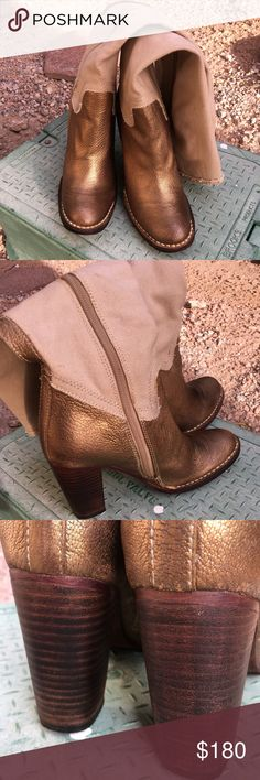Vero Cuoio Boots They have been worn only twice and in excellent condition. They have a gold leather accent and are just so cute.  Size 7 3.5 heels  The upper is material Vero Cuoio Shoes Heeled Boots