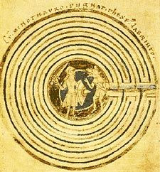 """From the World-wide Labyrinth Locator: """"The Otfrid labyrinth design, here the scene for the battle between Theseus and the Minotaur, in a late twelfth century manuscript from Regensburg, Germany."""""""