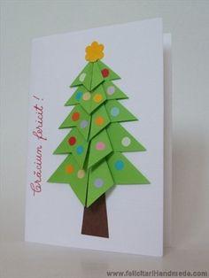 Cum sa faci o felicitare cu brad origami Origami Christmas Tree Card, Xmas, Advent, Art, Crafting, Art Background, Christmas, Kunst, Navidad