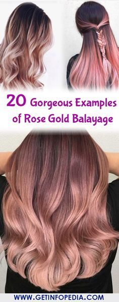 20 Gorgeous Examples of Rose Gold Balayage Do you want to create a different look by adopting a rose gold balayage? If so, then you need to check out stated below 20 gorgeous examples of rose gold balayage. So, let's keep checking it. Rose Gold Balyage, Rose Gold Balayage Brunettes, Balayage Brunette Short, Balayage Long Hair, Rose Gold Hair Brunette, Rose Gold Highlights, Diy Rose Gold Hair, Balayage Lob, Straight Hair Highlights