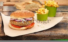 Cheeseburger (για χορτοφάγους) με λαχανικά, χωρίς κρέας