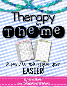 Theme Calendar for Speech Therapy Freebie!