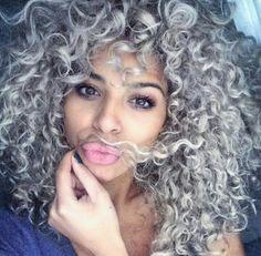 Gray Curls Curly Silver Hair, Curly Hair Dye, Wild Curly Hair, Curls Hair, Grey Hair Natural, Natural Hair Styles, Curly Hair Styles, Hair Extensions, Wig Hairstyles
