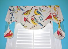 Oslo #valance in a bright cheery bird fabric! #windowtreatments www.LadyDiannes.com