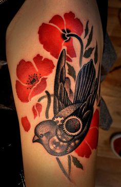 I love the style of bird and flower in this tatt - Marcin Aleksander Surowiec | A R T N A U