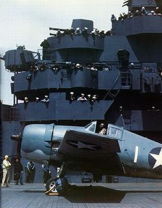 Amazing picture of a hellcat ready to take off on USS Yorktown.