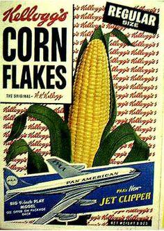 Corn Flakes cereal c. Vintage Ephemera, Vintage Ads, Vintage Prints, Vintage Food, Retro Ads, Breakfast Cereal, Breakfast Time, Newspaper Printing, Ice Cream Candy