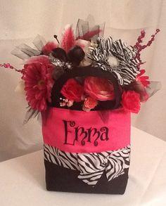 Hot Pink Zebra Floral Tote