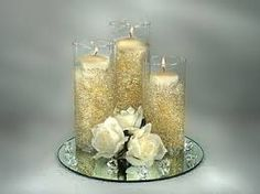 Resultado de imagen para centros de mesa con flores de tela y velas