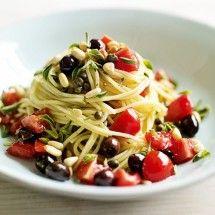 Tomato, black olive and caper spaghetti recipe