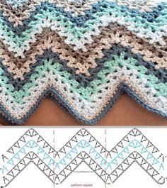 Punto/Stitch: V- stitch crochet ripple afghan pattern / punto zig zag afgano - Tejido Facil Punto Zig Zag Crochet, Chevrons Au Crochet, V Stitch Crochet, Knit Crochet, Manta Crochet, Crochet Shawl, Crochet Stitches Patterns, Knitting Patterns, Free Knitting