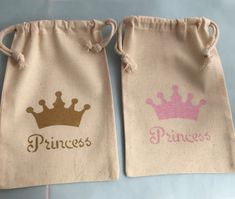 Hand painted drawstring muslin bags with a glittery light pink crown and Princess slogan. Also available in gold or dark pink - please let us