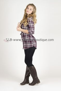 The Perfectly Plaid Tunic Top (Burgundy)