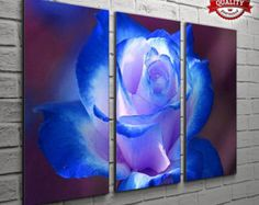 3 Panel Blue Rose Pictures For Your Living Room Bedroom Wall Art Print - Comp...- Wall Art - Wall Decor - Canvas Art - Wall Murals