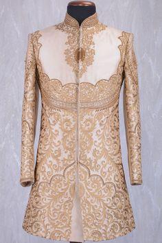 Beige & Gold Silk Zari Embroidered Wedding Sherwani-SH341