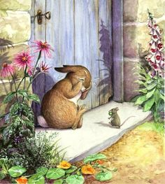 """Artwork by Wendy Rasmussen :: """"Peter found a door in a wall; but it was locked, and there was no room for a fat little rabbit to squeeze underneath. An old mouse was running in and out over the stone doorstep, carrying peas and beans to her family in the wood. Peter asked her the way to the gate, but she had such a large pea in her mouth that she could not answer. She only shook her head at him. Peter began to cry."""" ~ The Tale of Peter Rabbit, by Beatrix Potter"""
