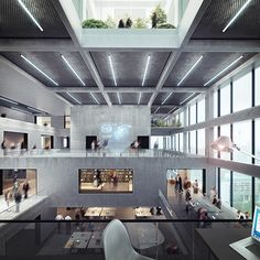 Axel Springer Verlag - Competition Visualization- Interior Source by yagogh Architecture Renovation, Library Architecture, Stairs Architecture, Architecture Visualization, Education Architecture, Architecture Design, Lobby Interior, Patio Interior, Interior Design