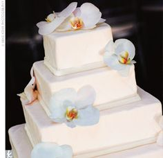 simple orchid placement on cake