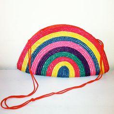 1980s Rainbow Woven Wicker Purse by ElizabethOBrienBerg on Etsy, $30.00