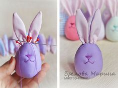 Funny Easter Bunny Eggs – a free tutorial on the topic: Toys ✓DIY ✓Steps-By-Step ✓With photos Funny Easter Bunny, Easter Bunny Eggs, Bunny Crafts, Easter Crafts, Spring Crafts, Holiday Crafts, Crafts To Do, Crafts For Kids, Bunny Blanket