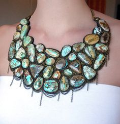 Royston Ribbon Turquoise Necklace  bib by ASoderstromJewelry, $1750.00  This is probably one of the most amazing pieces I've ever seen!!