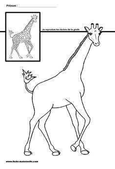 Site maternelle GS et MS : les taches de la girafe Farm Coloring Pages, Preschool Coloring Pages, Coloring For Kids, African Crafts, African Art, Drawing For Kids, Art For Kids, Giraffe Room, Zoo Preschool