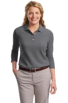 Port Authority Womens 3/4-Sleeve Pique Sport Shirt. L801 for only $20.41 You save: $33.58 (62%)