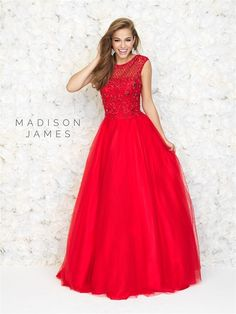 Style: 15-167 Madison James 2015 prom dress red ball gown with cap sleeves and high neck and beaded bodice