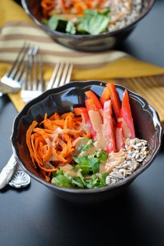 Raw Carrot Salad with Spicy Sweet Tahini Dressing - The Vegan 8