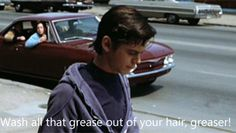 Wash all that greaser outta your hair ya greaser hahha The Outsiders Ponyboy, The Outsiders 1983, 80s Movies, Good Movies, Movie Tv, The Outsiders Preferences, Dallas Winston, Boyfriend Quiz, Ralph Macchio