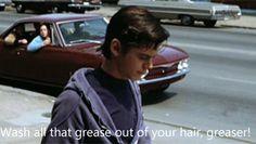 Wash all that greaser outta your hair ya greaser hahha The Outsiders Quiz, The Outsiders Greasers, The Outsiders Preferences, The Outsiders Ponyboy, The Outsiders 1983, Boyfriend Quiz, Drive In Movie Theater, Ralph Macchio, The Borgias