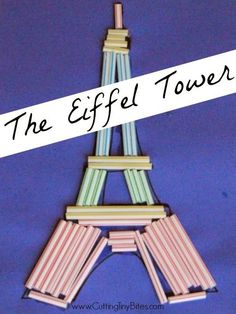 Eiffel Tower Craft.  Fun and easy craft for developing fine motor skills.  Great for toddlers, preschoolers, or elementary children.  Use for a France theme or unit, or for construction!