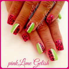 Summer Gelish nails with leopard nail art. Leopard and studs nails! Ibiza zoo project nails! Pink and lime nails! 3 week manicure  perfect summer nails! Nail ideas  LOVE HOLIDAY NAILS ☀