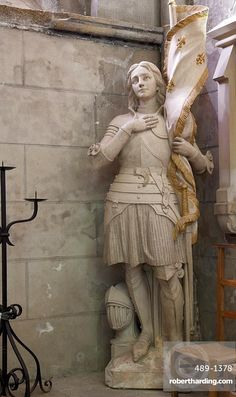 Statue of St. Joan of Arc, Dol Cathedral, Dol de Bretagne, Brittany,