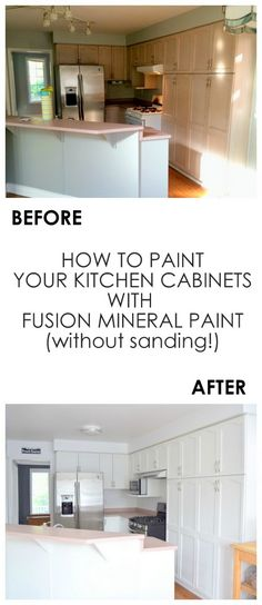 Kitchent Cabinets Makeover Kitchen makeover using Fusion Mineral Paint in Casement - - Learn how to paint your kitchen cabinets without sanding or a top coat using Fusion Mineral Paint.