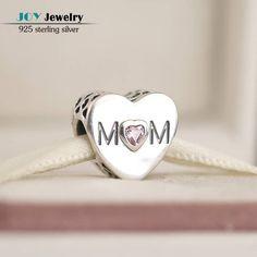 Mom Pink CZ Heart European Style 925 Sterling Silver Bracelet Charm