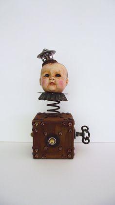 OOAK Art Doll Assemblage Jack In The Box Rusty