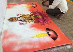 Diwali Rangoli Design of Goddess Lakshmi Rangoli Ideas, Rangoli Designs Diwali, Diwali Rangoli, Flower Rangoli, Beautiful Rangoli Designs, Goddess Lakshmi, Indian Festivals, Happy Diwali, Festival Decorations