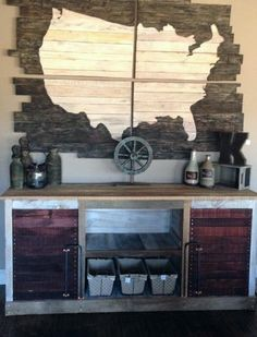 Barnwood entertainment center balanced with reclaimed wall art made from wood in the shape of the United States