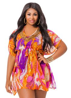 Beaded Neck Print Cover Up Beaded Neck Print Cover Up