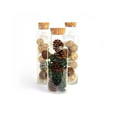 #Vintage #Glass #Spaghetti #Jar #Canisters with Cork Stoppers - Trio of #Rustic Blown Glass #Storage Jars for #Kitchen Use or Home #Decor - #Terrarium, too! Available from OneRustyNail on Etsy. ► http://www.etsy.com/shop/OneRustyNail