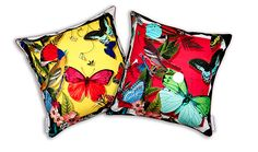 Bird and Butterfly Detail 100% Silk Cushion