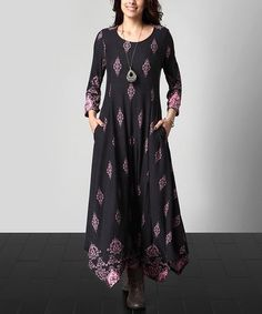 Look what I found on #zulily! Charcoal & Pink Damask Handkerchief Maxi Dress - Plus #zulilyfinds