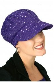 purple sparkle baseball cap for cancer chemotherapy patients